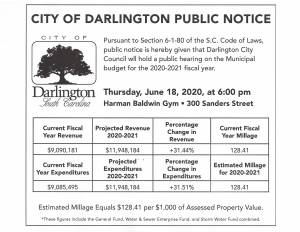 FY2020-2021 City of Darlington Public Notice